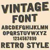 Retro 3d alphabet and number sign, old typography style, vector cartoon font letters