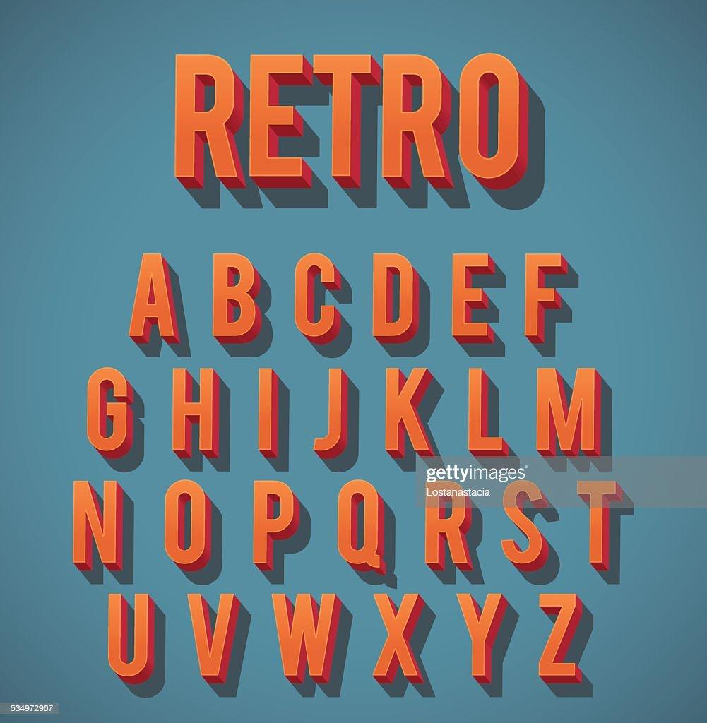 Retro 3D Alphabet Set