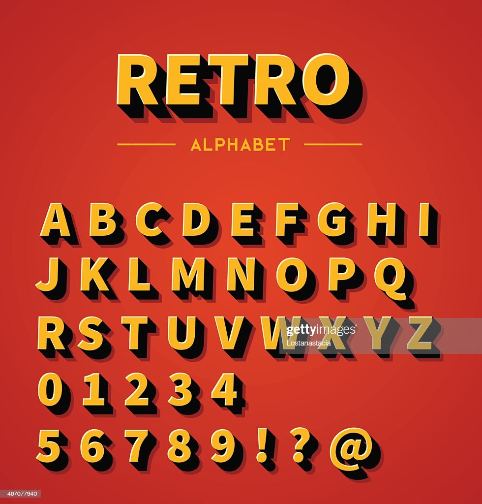 Retro 3d alphabet with shadow