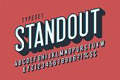 Retro 3d display font design, alphabet, letters