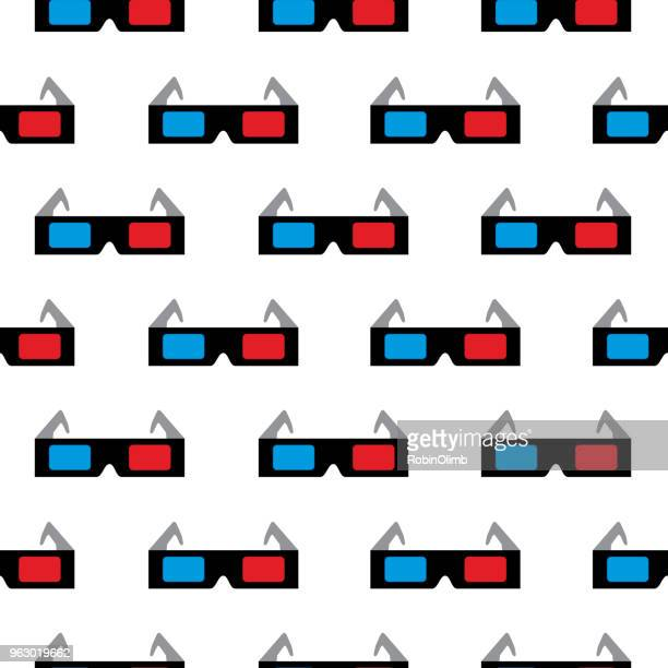 Retro 3D Glasses Seamless Pattern