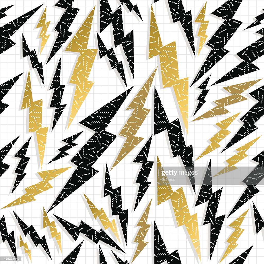 Retro 80s 90s thunder bolt ray pattern gold fancy