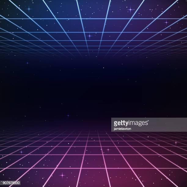 retro 80s background - lighting equipment stock illustrations