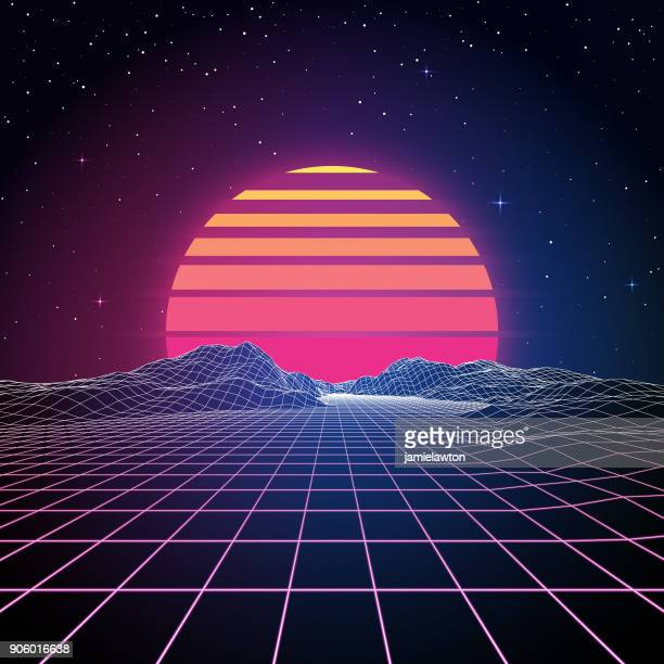 retro 80s background - grid pattern stock illustrations