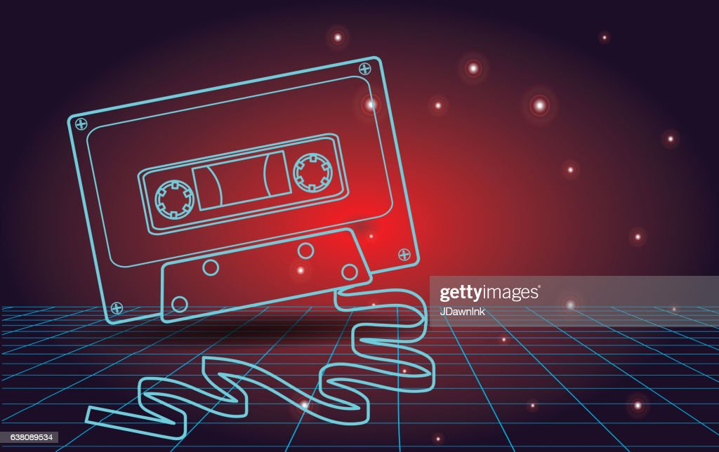 Retro 80s background with cassette tape : stock vector