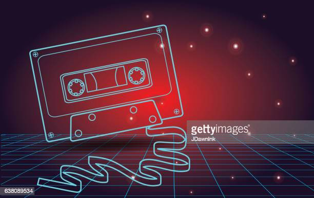 Retro 80s background with cassette tape