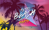 Retro 80's beach music party invitation, banner or cover. Coconut tree at tropical coast, made with vintage warm tones. Triangle eighties element. Background easy editable for poster.