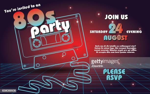 Retro 80s party invitation design template