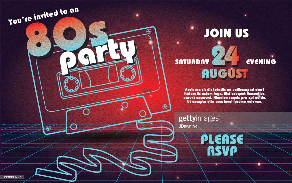 Retro 80s Party Invitation Design Template Vector Art | Getty Images