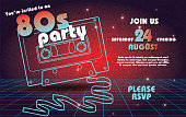 Retro 80s party invitation design template