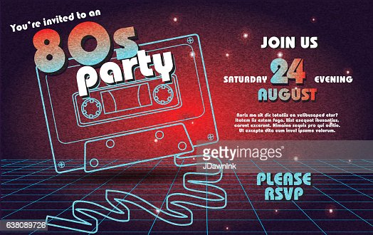Retro S Party Invitation Design Template Vector Art Getty Images - 80s party invitation template