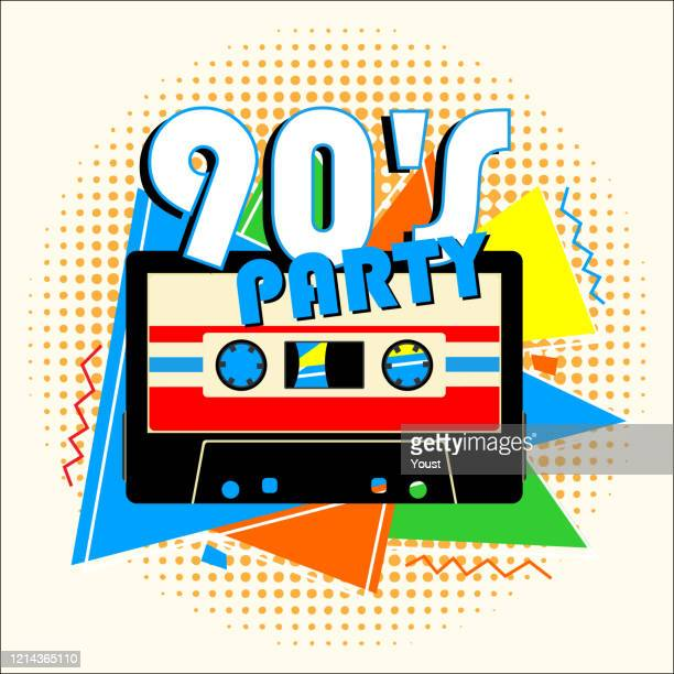 retro 90's music party in retro design style. - 1990 1999 stock illustrations