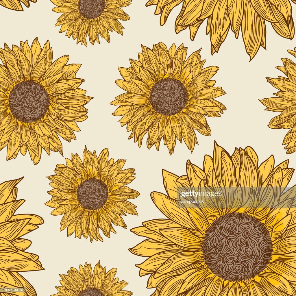 Retro 90s Sunflower Seamless Pattern stock illustration