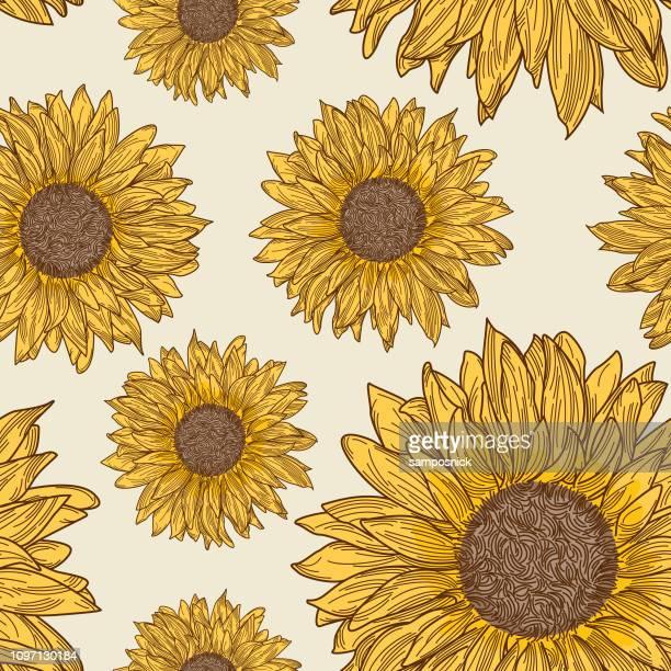 retro 90s sunflower seamless pattern - sunflower stock illustrations, clip art, cartoons, & icons