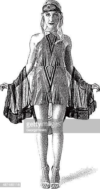 Retro Actress, Wearing Vintage Art Deco Clothes