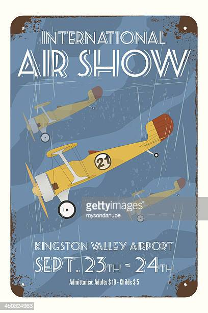 Retro air show poster with tin airplanes