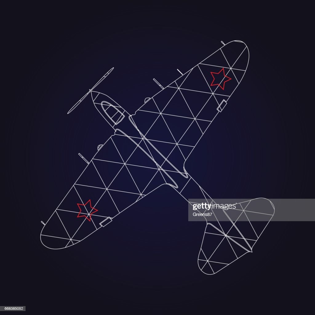 Retro Airplane design on dark blue background.
