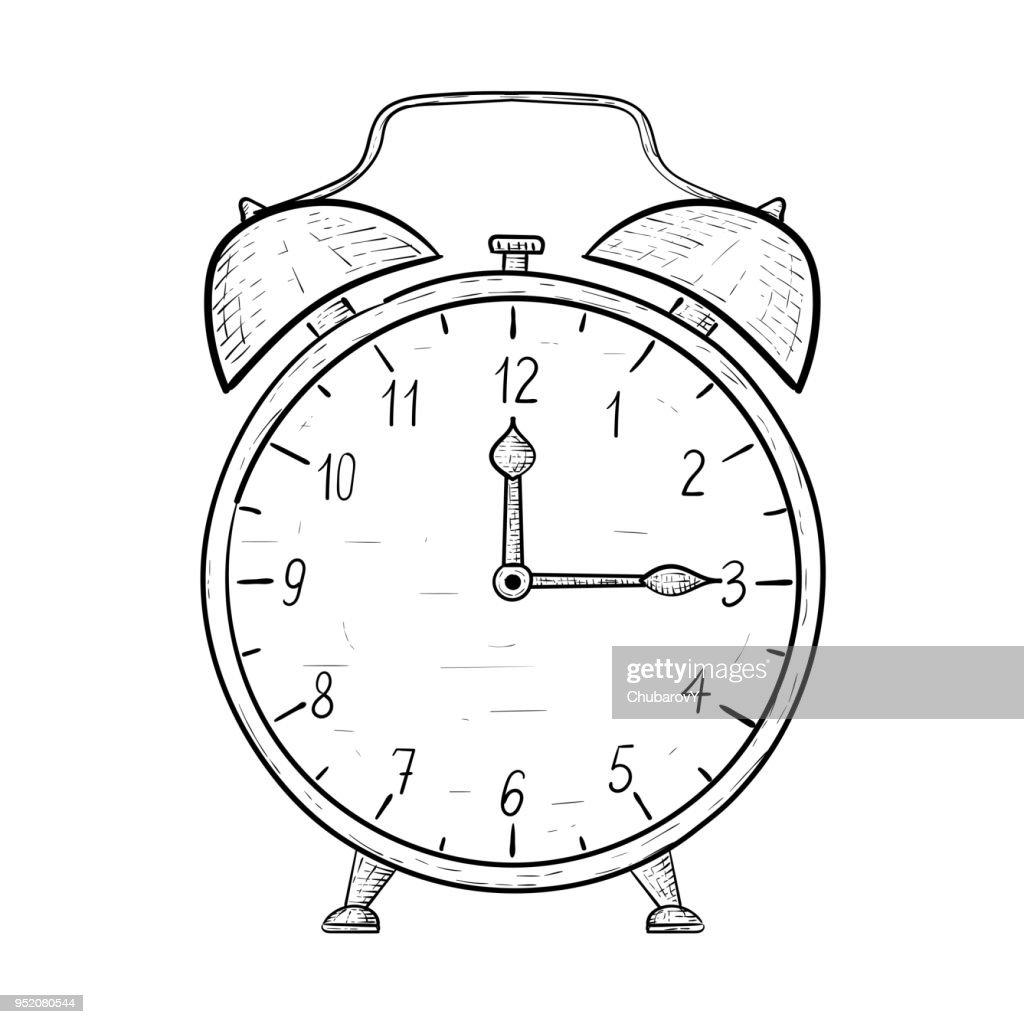 Retro alarm clock. Hand drawn sketch. Quarter past twelve