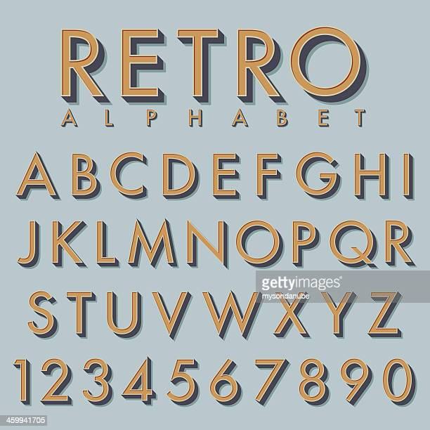 Retro alphabet in tan color on mint background