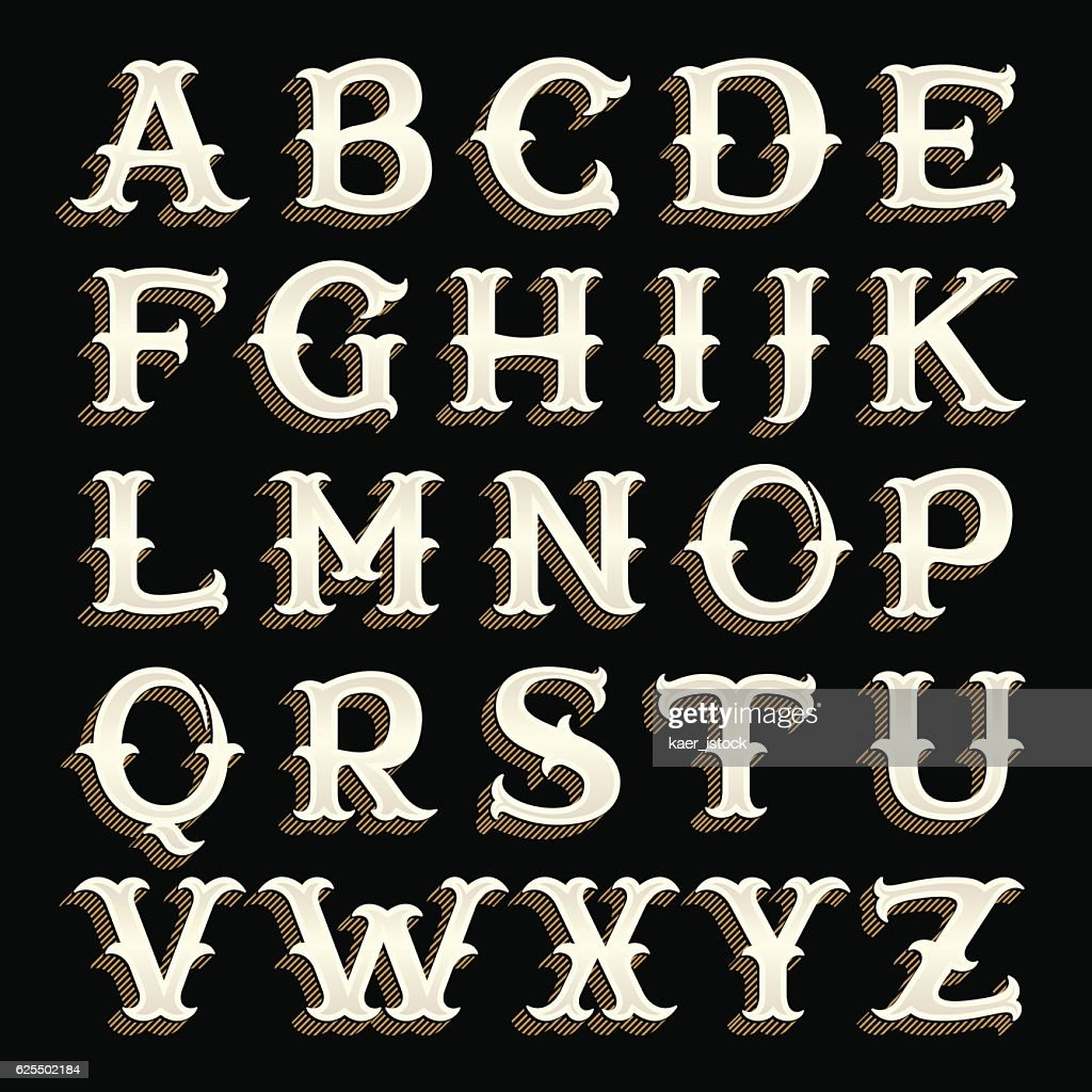 Retro alphabet in western style with lines shadow.
