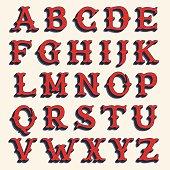 Retro alphabet. Vintage western style volume typeface.