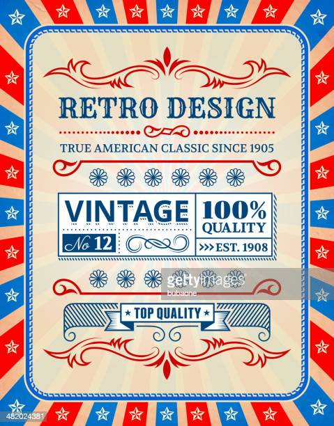 retro american custom vintage badge on fourth of july background - wood stain stock illustrations, clip art, cartoons, & icons