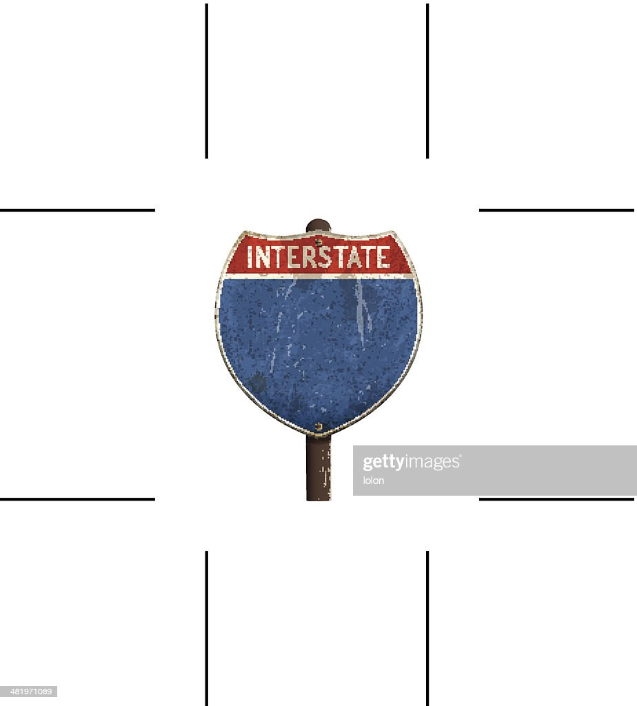 retro American interstate road sign