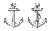 2 retro anchors with a rope