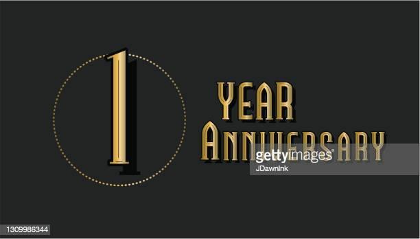 レトロとヴィンテージ1周年記念ラベルデザインゴールドとブラックカラー - 1周年点のイラスト素材/クリップアート素材/マンガ素材/アイコン素材