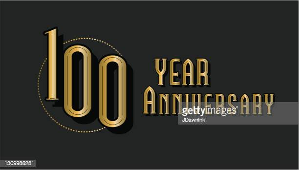 retro and vintage 100 year anniversary label design in gold and black colors - 100th anniversary stock illustrations