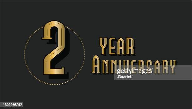 レトロとヴィンテージ2周年記念ラベルデザインゴールドとブラックカラー - 結婚記念日のカード点のイラスト素材/クリップアート素材/マンガ素材/アイコン素材
