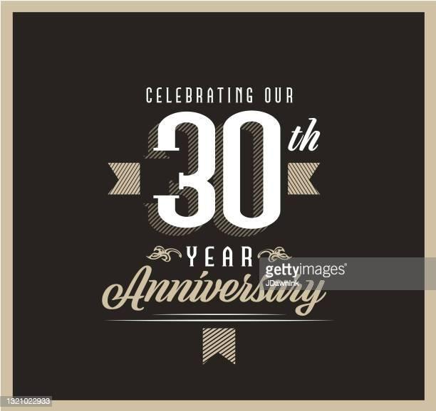 黒の背景にレトロとヴィンテージ30周年記念ラベルデザイン - 30周年点のイラスト素材/クリップアート素材/マンガ素材/アイコン素材