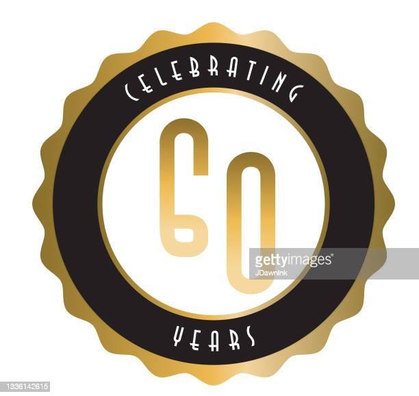 レトロとヴィンテージ60周年記念ラベルデザインゴールドとブラックカラー - 60周年点のイラスト素材/クリップアート素材/マンガ素材/アイコン素材
