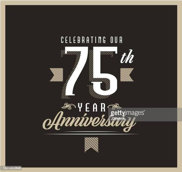 黒の背景にレトロとヴィンテージ75周年記念ラベルデザイン - 結婚記念日のカード点のイラスト素材/クリップアート素材/マンガ素材/アイコン素材