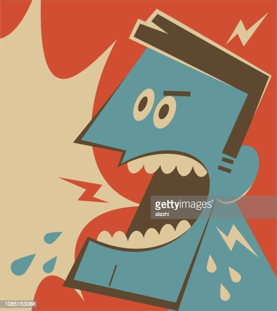 retro angry man shouting - anti bullying symbols stock illustrations
