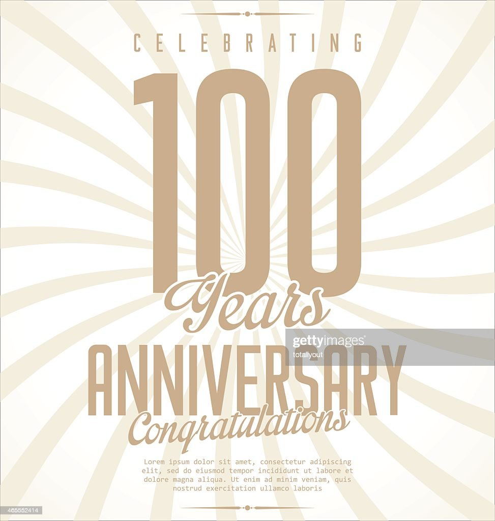 Retro anniversary background with large numeral 100