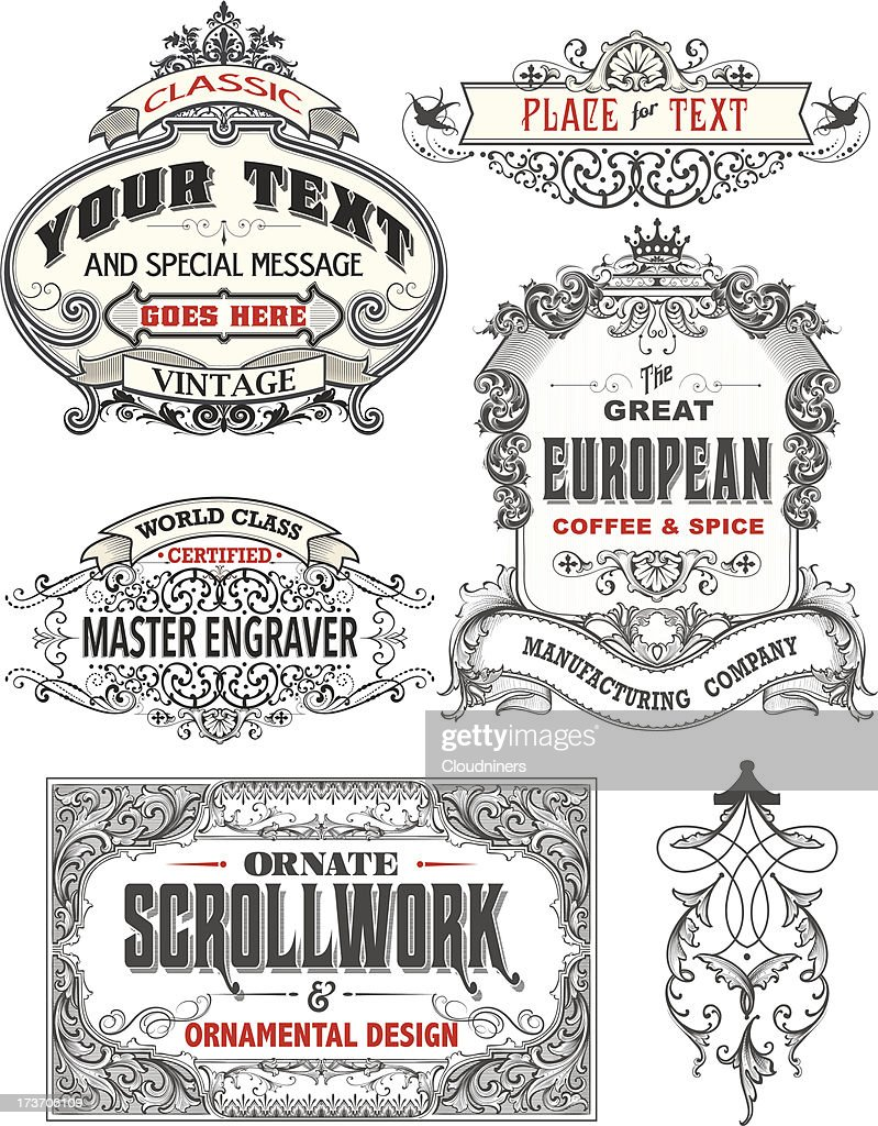 Retro Antique Frame Labels