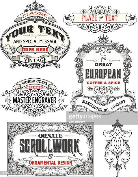 retro antique frame labels - art nouveau stock illustrations, clip art, cartoons, & icons