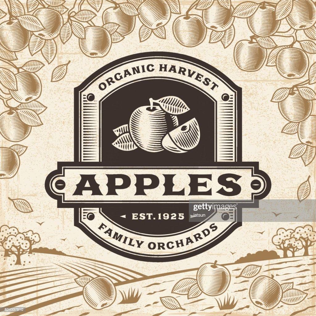 Retro apples label on harvest landscape