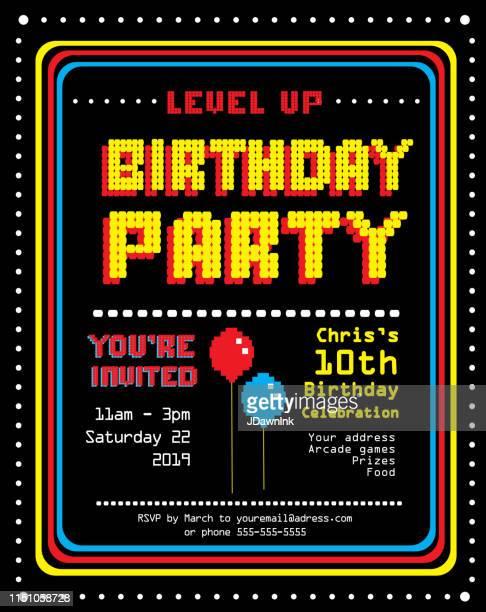 retro arcade birthday party einladung design-vorlage - einladungskarte stock-grafiken, -clipart, -cartoons und -symbole