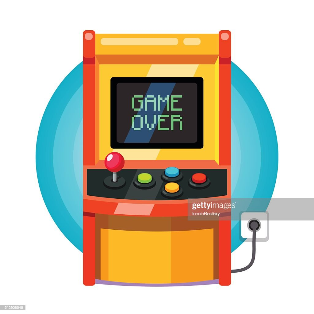 Retro arcade machine plugged in