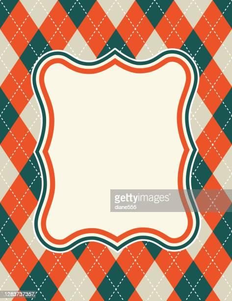 illustrazioni stock, clip art, cartoni animati e icone di tendenza di sfondo argyle retrò nei colori delle festività con cornice vuota - composizione verticale