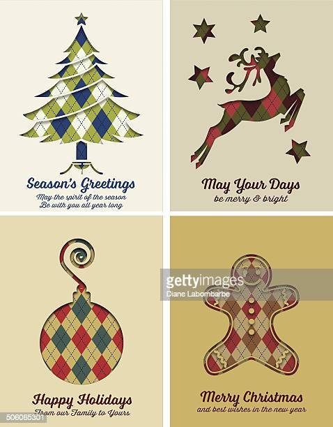 retro argyle christmas card set - gingerbread man stock illustrations