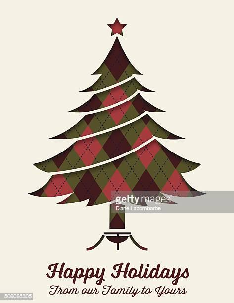 Retro Argyle Christmas card With Tree
