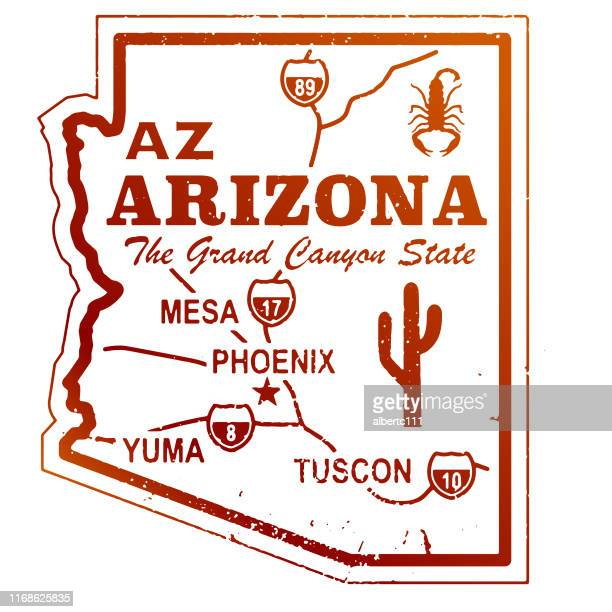 retro arizona travel graphic - arizona stock illustrations