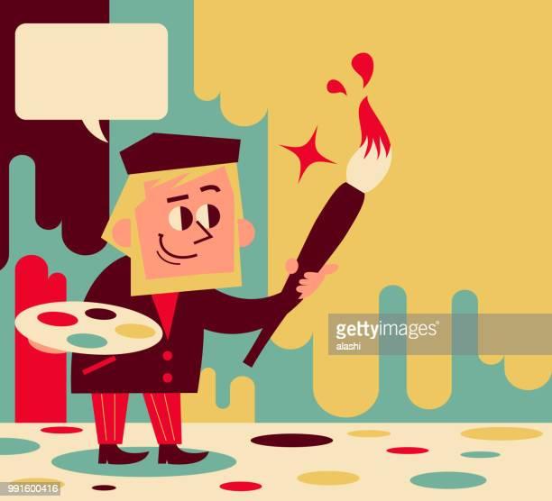 illustrazioni stock, clip art, cartoni animati e icone di tendenza di disegno di artista retrò con un grande pennello - pittore