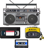 Retro audio cassette, tape recorder, music player, videotape from 90s