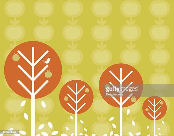 retro autumn trees background - harvest festival stock illustrations
