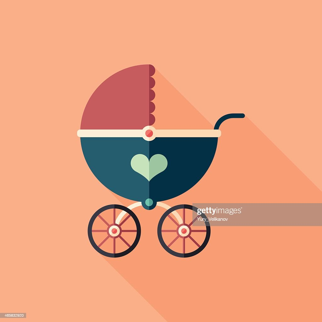 Retro baby stroller flat square icon with long shadows.