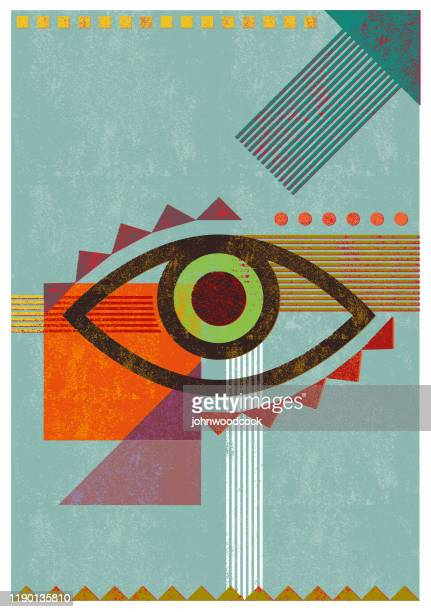 illustrazioni stock, clip art, cartoni animati e icone di tendenza di illustrazione retrò dell'occhio di sfondo - occhio umano